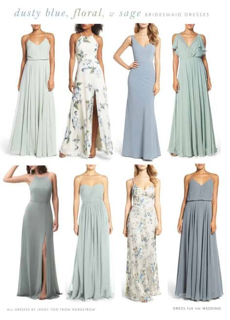 Light Blue, Floral, and Sage Green Mix and Match Bridesmaid Dresses