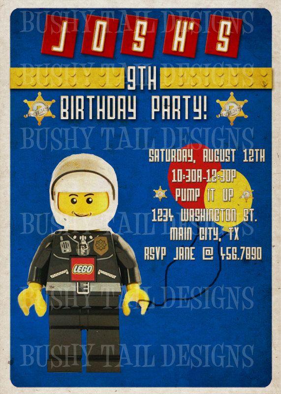 Very Cool LEGO POLICE Birthday Invitation