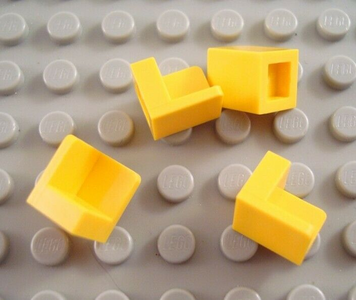 Lego 4 Yellow 1x1x1 Corner Wall Panel NEW