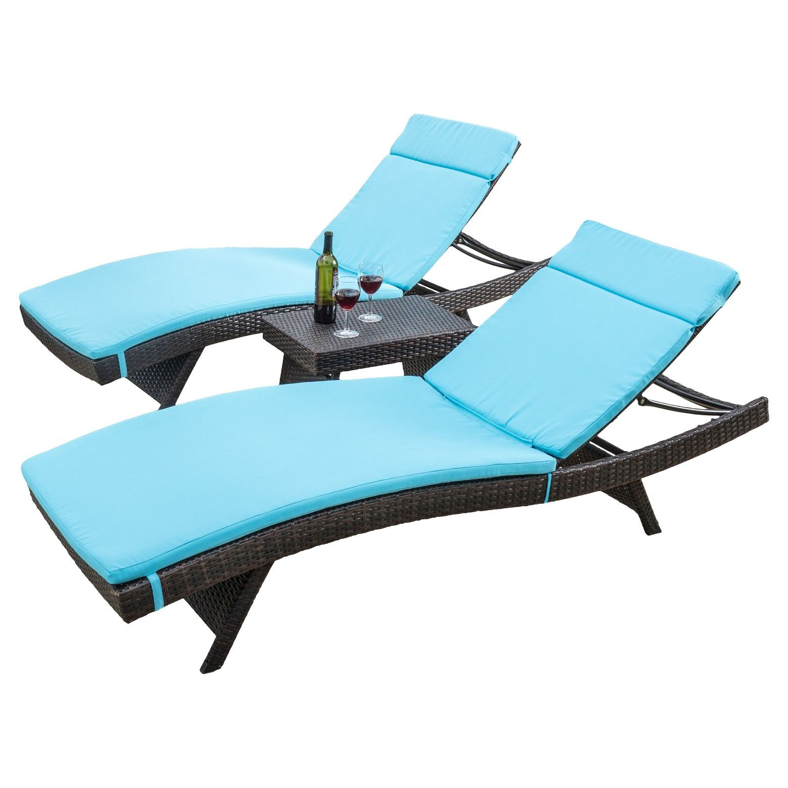 Luana 3pc Wicker Patio Adjustable Chaise Lounge Set With