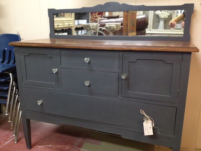 From Paint In My Hair: Did you know that the Annie Sloan Dark Wax makes a beautiful stain--color and top coat all in one!  This vintage buffet was stained on top with Annie Sloan Dark Wax 3 times, and Annie Sloan Chalk Paint Graphite on the bottom.