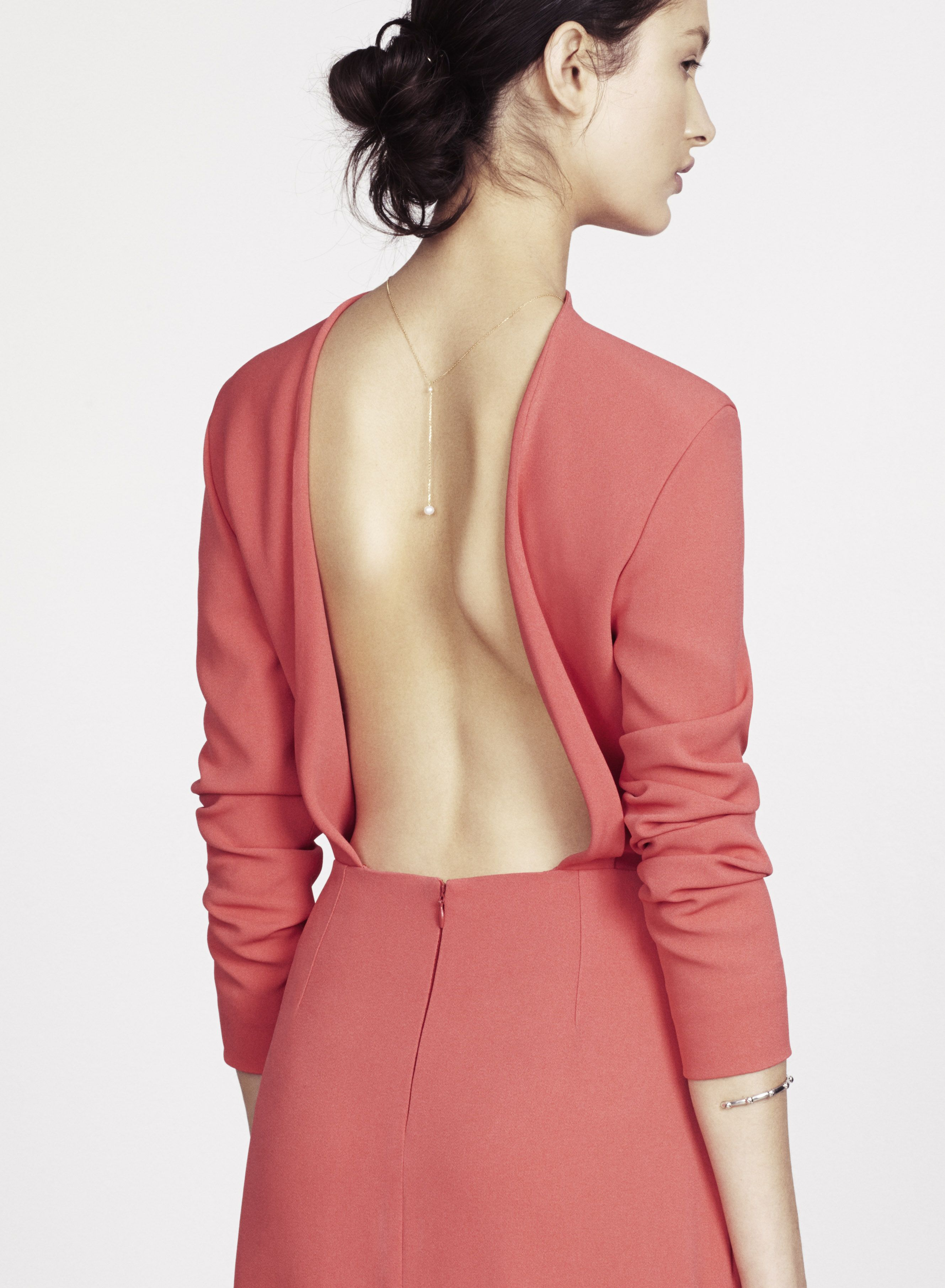 Charlotte simpson coral long sleeve open back evening gown dress
