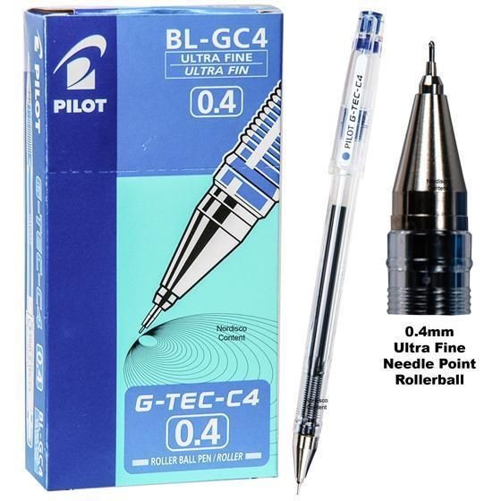 Pack of 5 pcs BLUE ink Pilot LHG-20C4 Hi-Tec C 0.4 mm Roller Ball Gel Pen