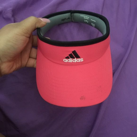 bca6a014fcb Pink Adidas Visor! Cute pink visor that can be worn sporty or casually. Has  a small stain on the bill
