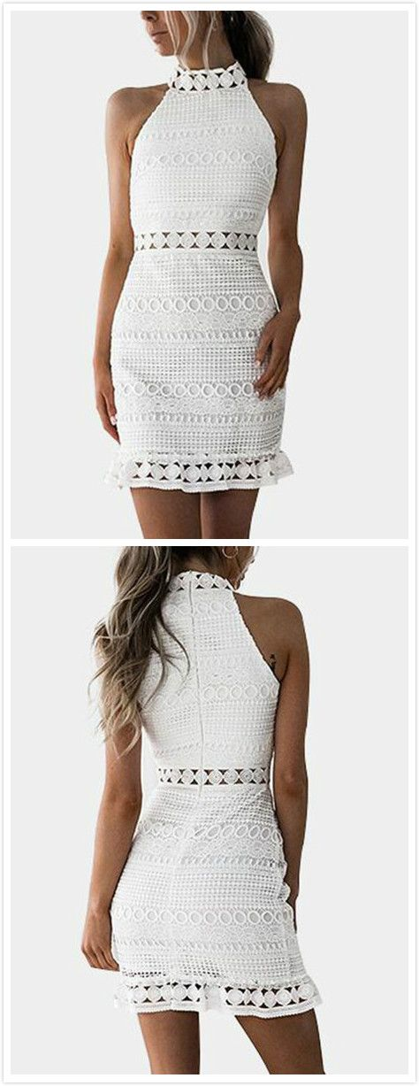 Work this seriously standout mini dress any season. It is adorned with high neck, sleeveless, cut out and lace details. We love it with outwear and high heels.