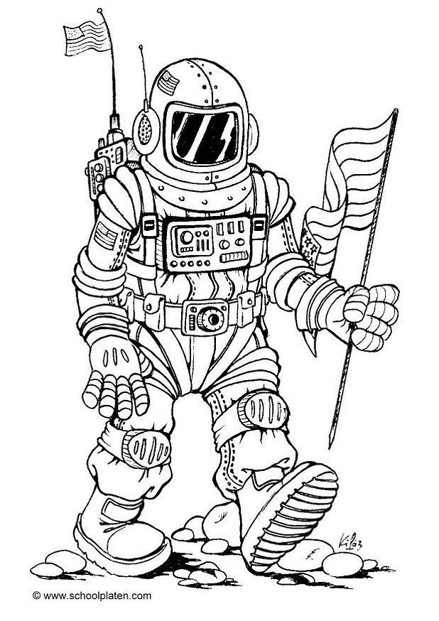 An Astronaut And His Spacecraft Colouring Page An Astronaut And