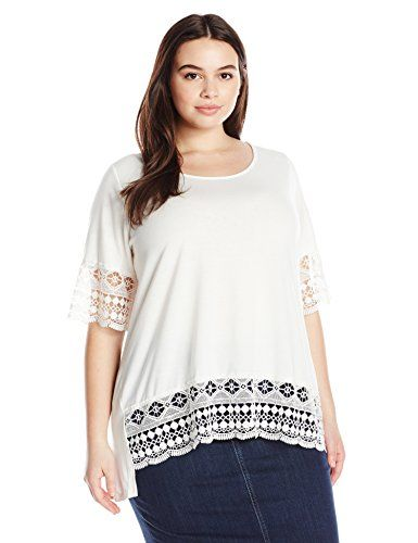 NY Collection Womens Plus Size Elbow Sleeve Scoop Neck Tunic Top with Crochet Trim AT Sleeve and Hem Ivory 2X *** You can find more details by visiting the image link.Note:It is affiliate link to Amazon.