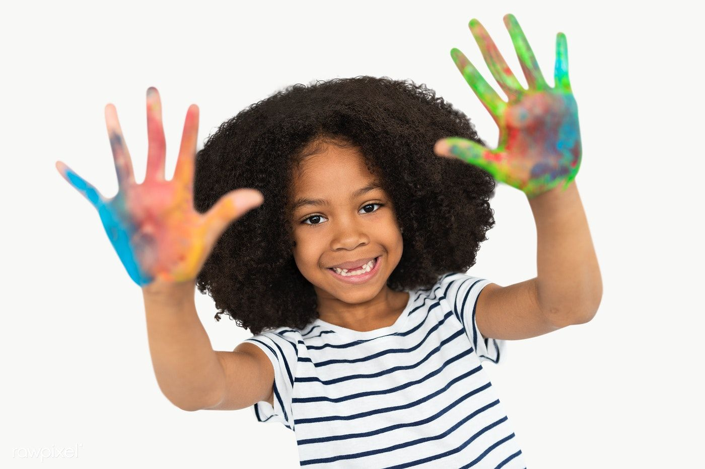 Download Premium Png Of Happy Black Girl With Palms Covered In Paint African African American Girl African Drawings