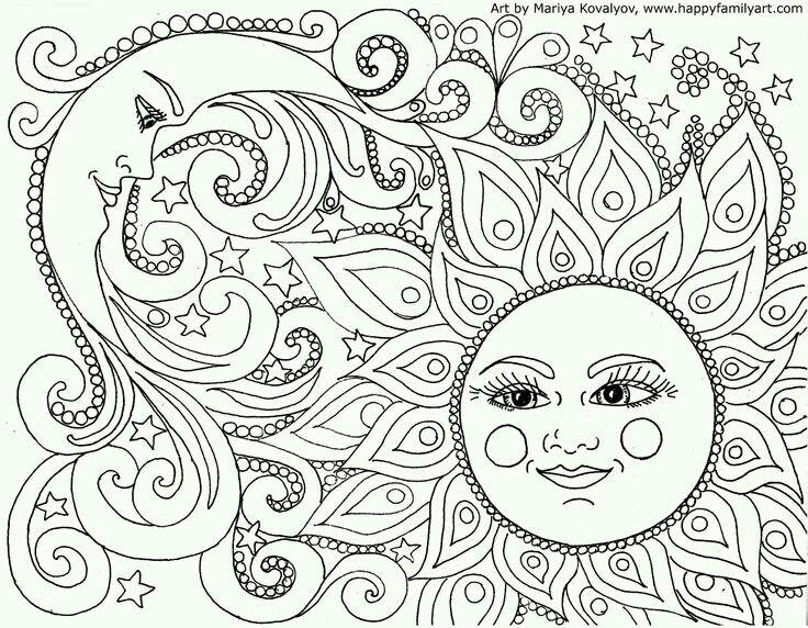 Zon maan | ZENTANGLE | Pinterest - Mandalas, Colores en Dibujos