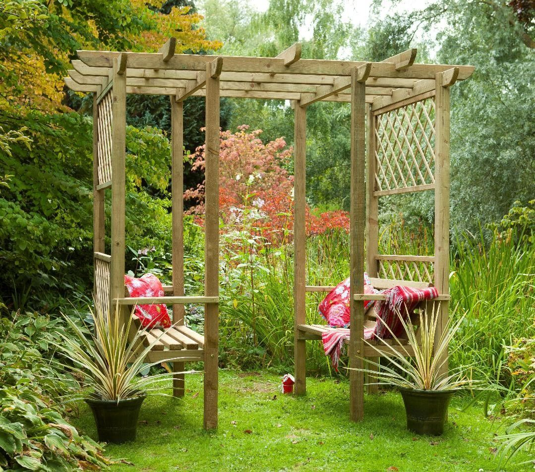 Classic walkthrough double bench wooden lattice garden for Wooden garden arbour designs