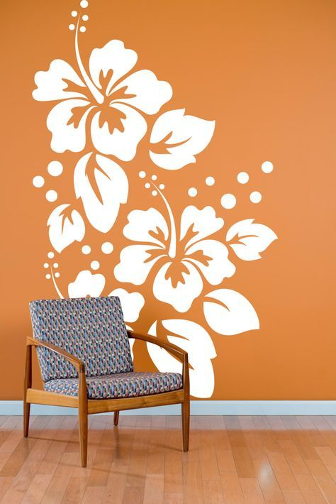 Large Hibiscus Flowers Pattern Wall Decal Custom Vinyl Art - Custom large vinyl stickers
