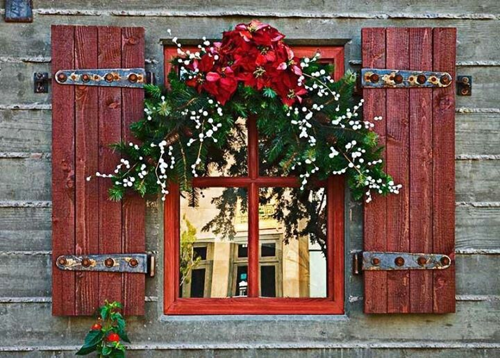 Interesting Impressive Rustic Red Window With Pine Wreath For Modern Outdoor Home Christmas Decorations Ideas