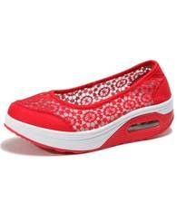 c97b1d956b9a Red lace low cut slip on rocker bottom shoe sneaker 01
