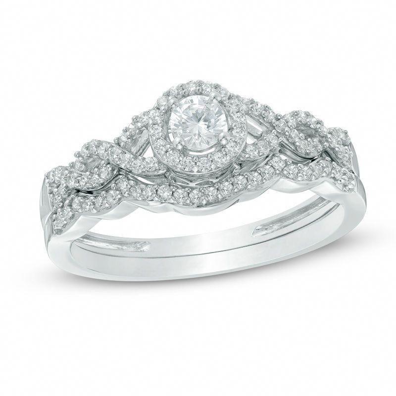 3/8 CT. T.W. Diamond Frame Loose Braid Bridal Set In 10K White Gold|Zales #loosebraids
