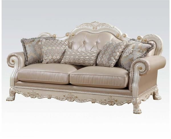 Dresden Traditional Antique White PU Fabric Wood Sofa W 5 Pillows