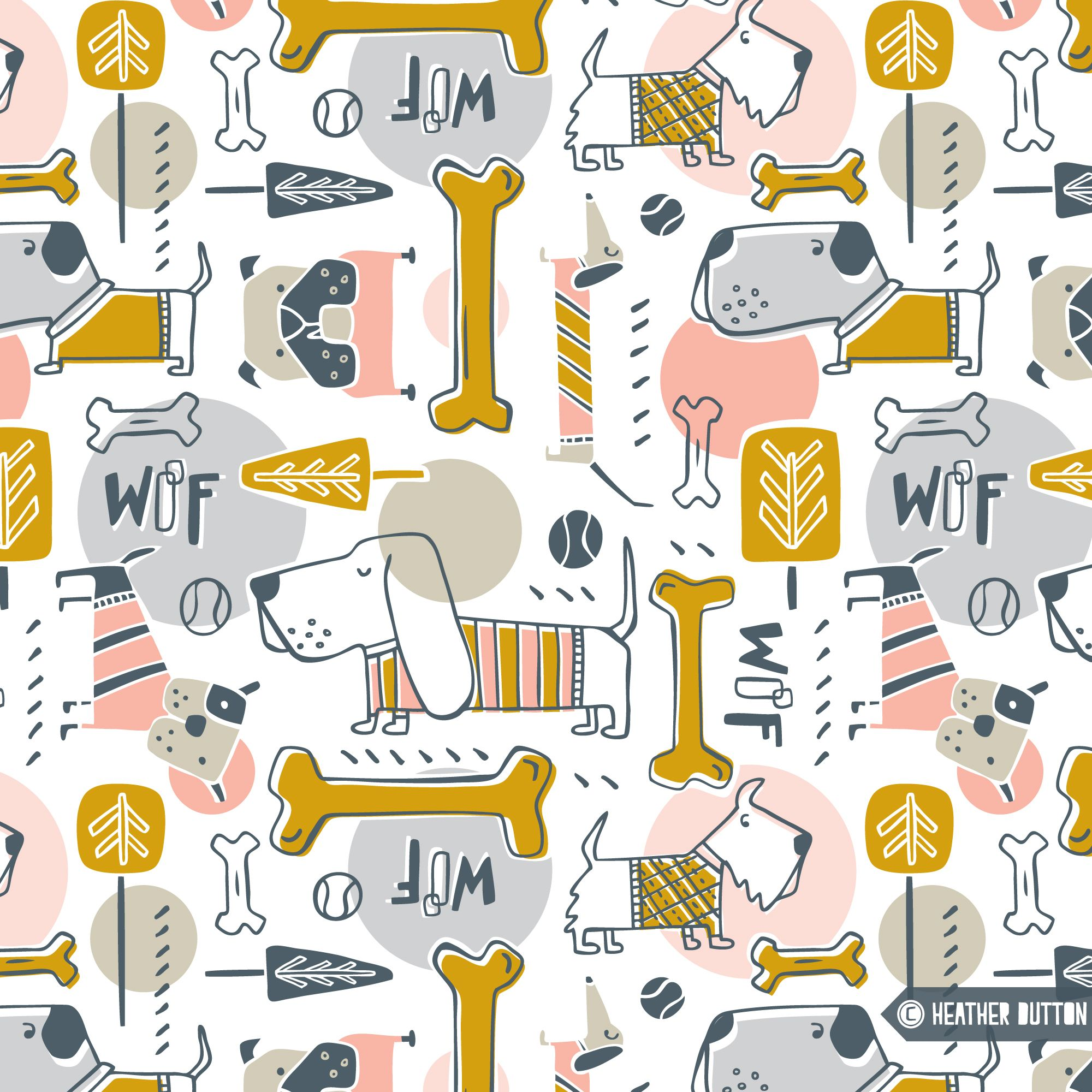 Colorful fabrics digitally printed by Spoonflower Dog