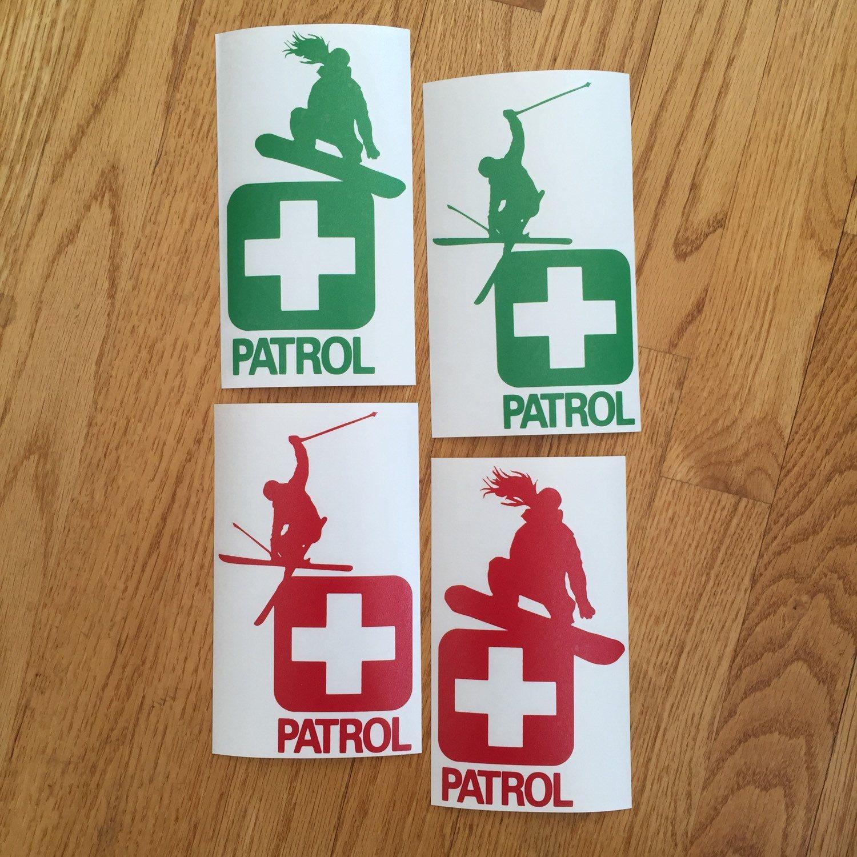 Skiing Ski Snowboard Adhesive Vinyl Die Cut Patrol - Custom die cut vinyl stickers snowboard