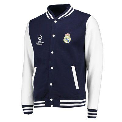 Real Madrid UEFA Champions League Varsity Baseball Jacket - Navy ...