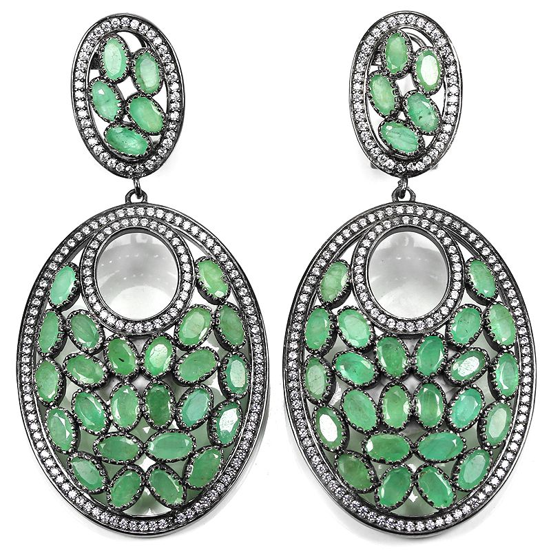 BIG NATURAL COLUMBIAN AAA GREEN EMERALD & WHITE CZ STERLING  925 SILVER EARRING https://t.co/0PE1eVaYN6 https://t.co/g7dBfMHI7G