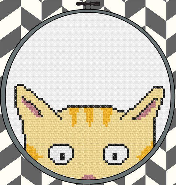 Kitty Committee orange tabby cross stitch pattern by pdxstitchshop #cat #kitty #kitten #crossstitch #embroidery