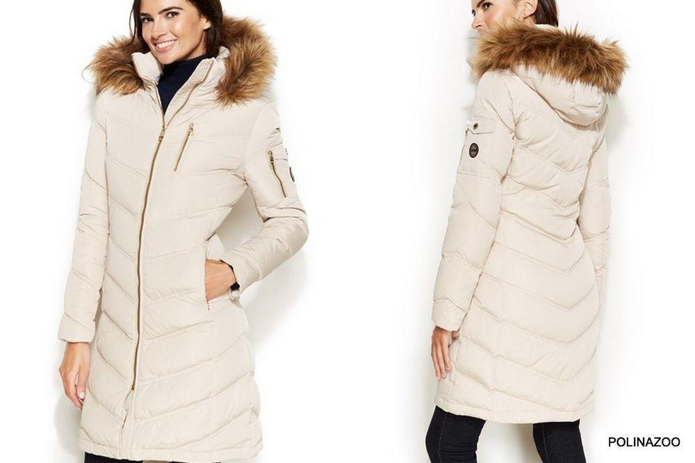 Details about Calvin Klein winter down slim coat Faux Fur Trimmed ...