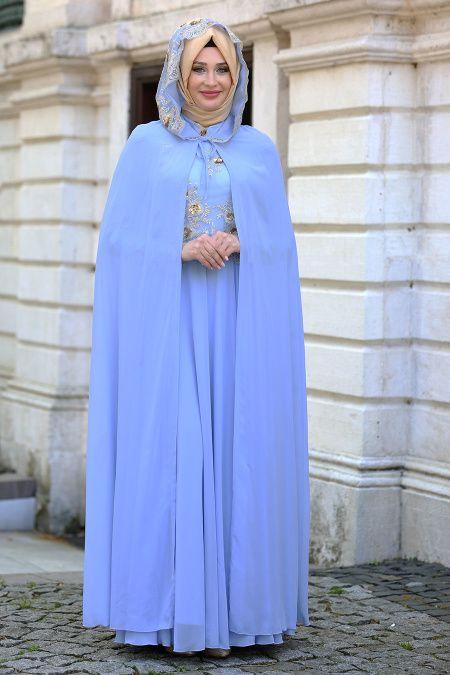 7bc9d03b5725c TESETTÜRLÜ ABİYE ELBİSELER - Tesettürlü Abiye Elbise - Pul Payet Detaylı  Bebek Mavisi Tesettür Abiye Elbise 7647BM
