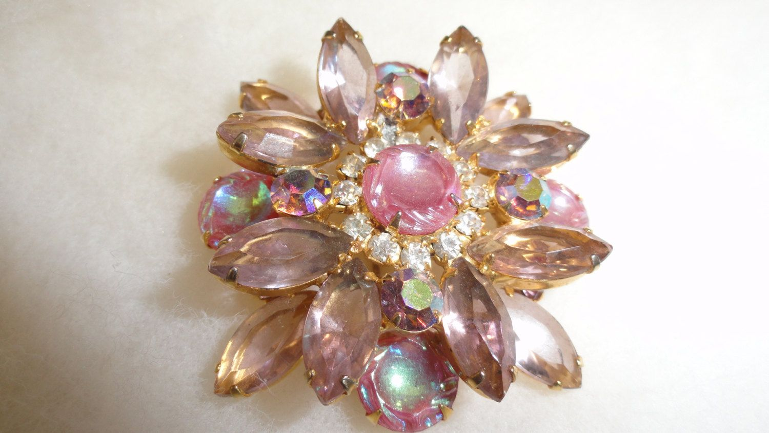 DeLizza & Elster Pink Iridescent Rhinestone Molded Art Carved Glass Open Back Aurora Borealis Brooch by TimsSecretTreasures on Etsy