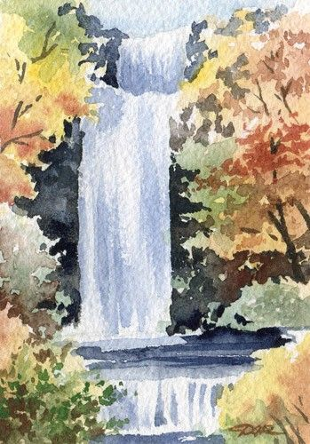 Waterfall Watercolor Signed Fine Art Print By Artist Dj Rogers
