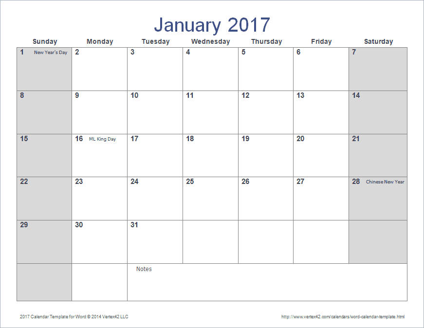 Download The  Calendar Template For Word From VertexCom