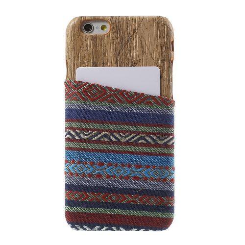 Javu - iPhone 6 Hoesje - Back Case Hard Tribal Canvas en Houtprint Licht Blauw | Shop4Hoesjes