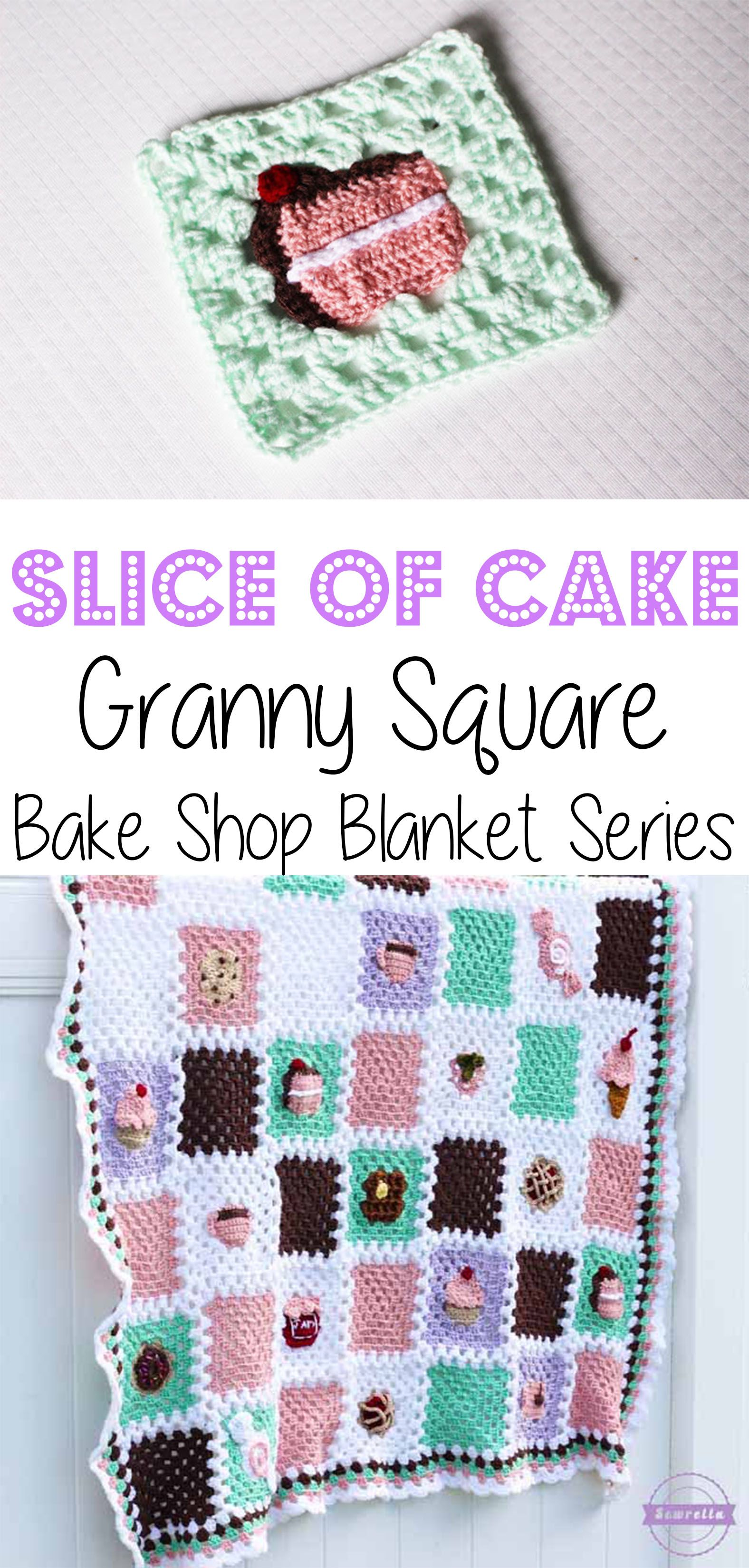Crochet Slice of Cake Granny Square: Bake Shop Blanket Series   Free Pattern from Sewrella