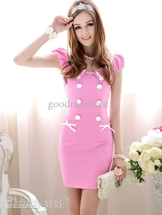 women's dresses Round-Neck Sexy Lady Dresses pink and dark blue ...