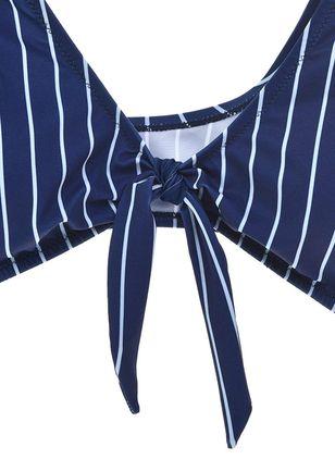Plus Size Polyester Stripe Bikinis Swimwear - Blue XL 7