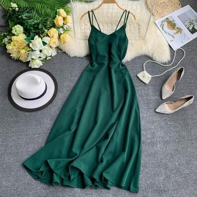 Spaghetti Strap Long Dress Women Elegant Backless Dresses Vintage Beach Party Maxi Dress Robe Vestidos 9