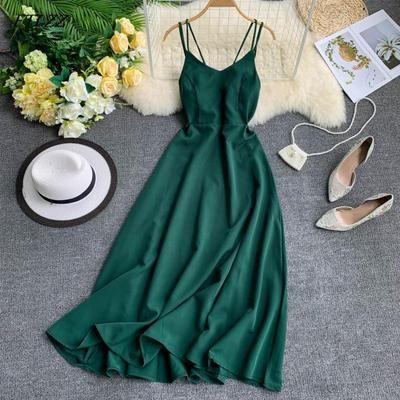 Spaghetti Strap Long Dress Women Elegant Backless Dresses Vintage Beach Party Maxi Dress Robe Vestidos 1