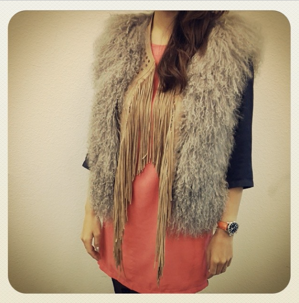 Designer Look of the Day♡ Our Top Designer wore this to work today♡ #fashion #shopping #trendy #chic #fur #vest #jacket