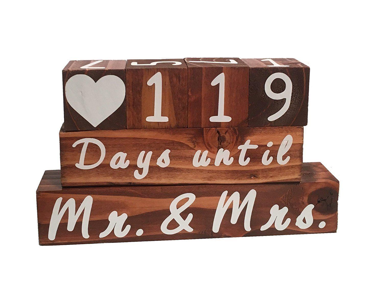 Wooden Block Wedding Countdown Calendar/Clock Two Sided