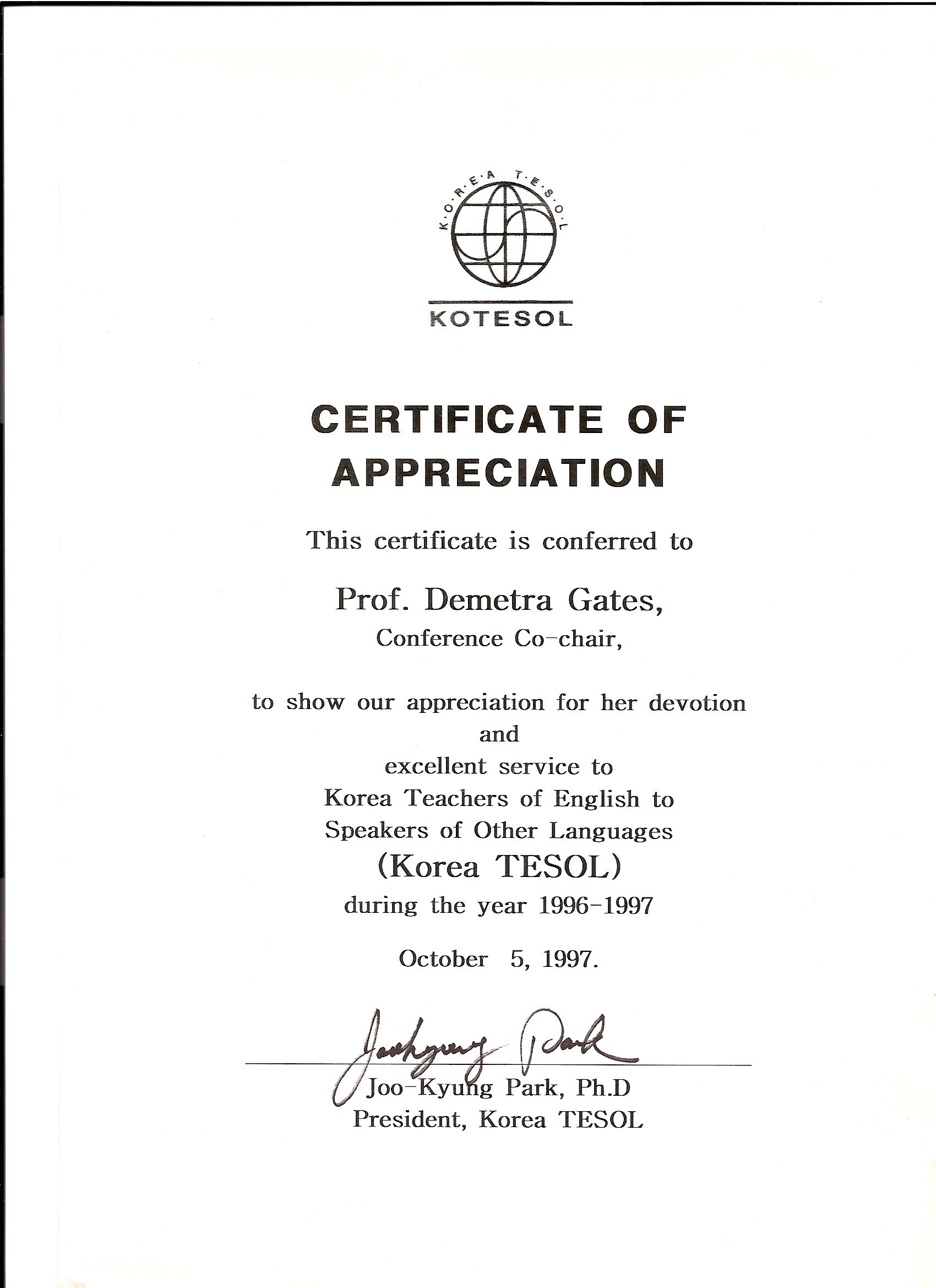 Kotesol presidential certificate of appreciation 1997 kotesol presidential certificate of appreciation conference co chair yadclub Images