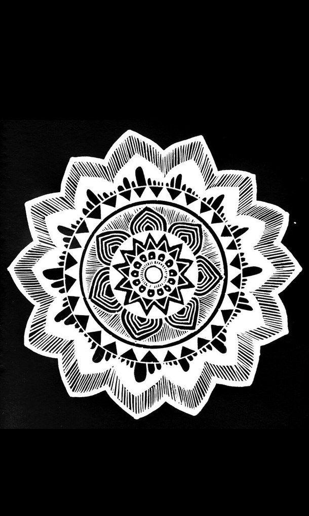 Background Black And White Draw Mandala Self Made Wallpaper Mandala Wallpaper Apple Watch Wallpaper Black And White