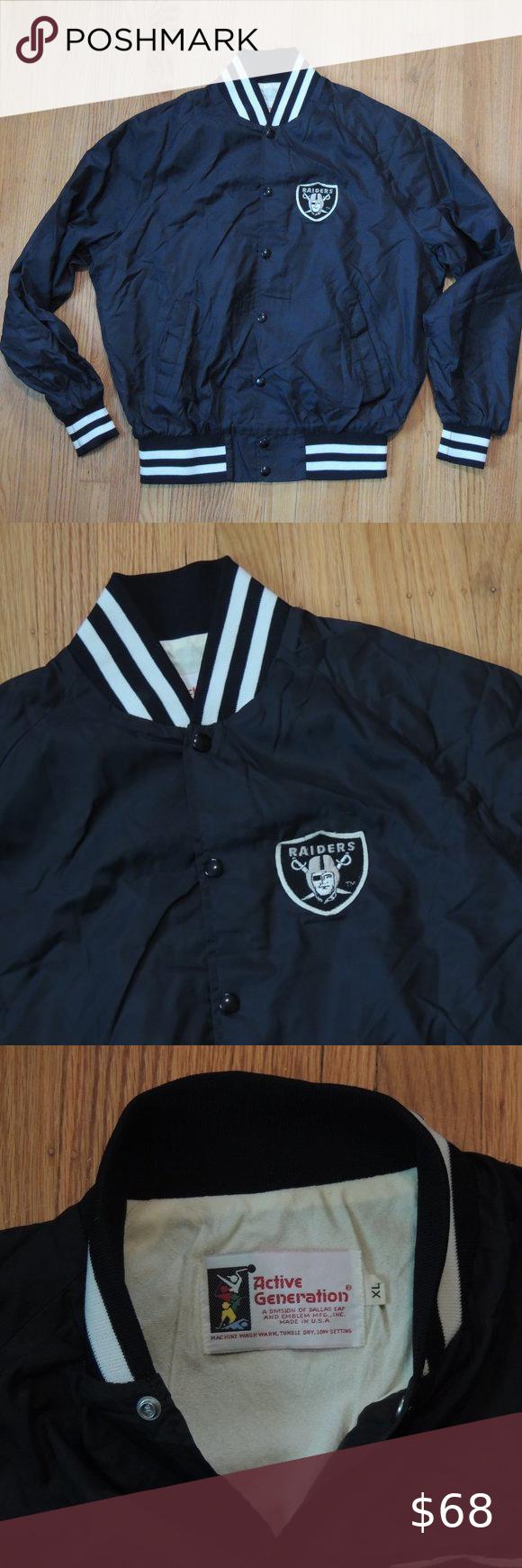 Oakland Raiders Vintage 70s Jacket Nfl Satin Black In 2020 Vintage Jacket Men Vintage Jacket Jackets