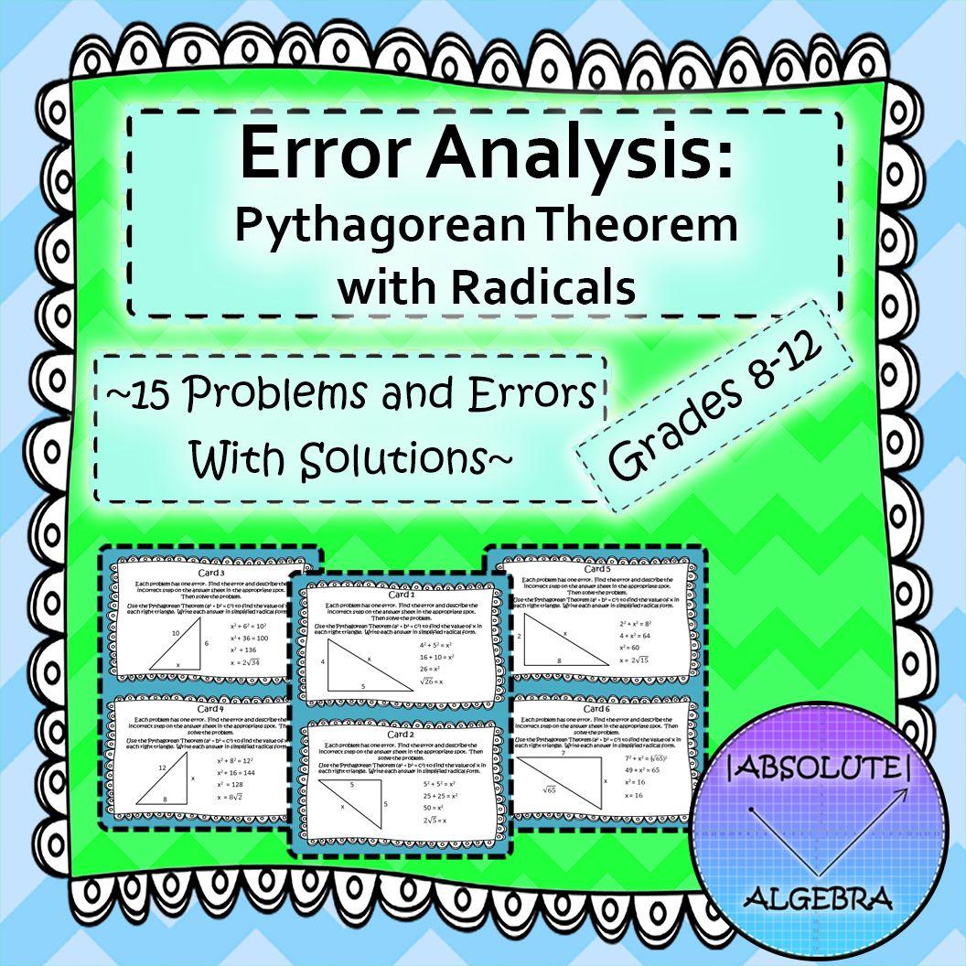 Pythagorean Theorem With Radicals Errorysis