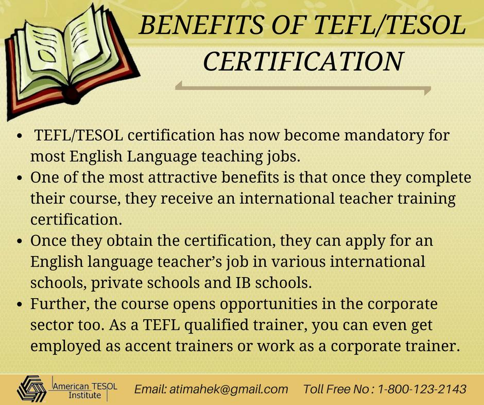 Benefits Of Tefltesol Certification Tesol Certification