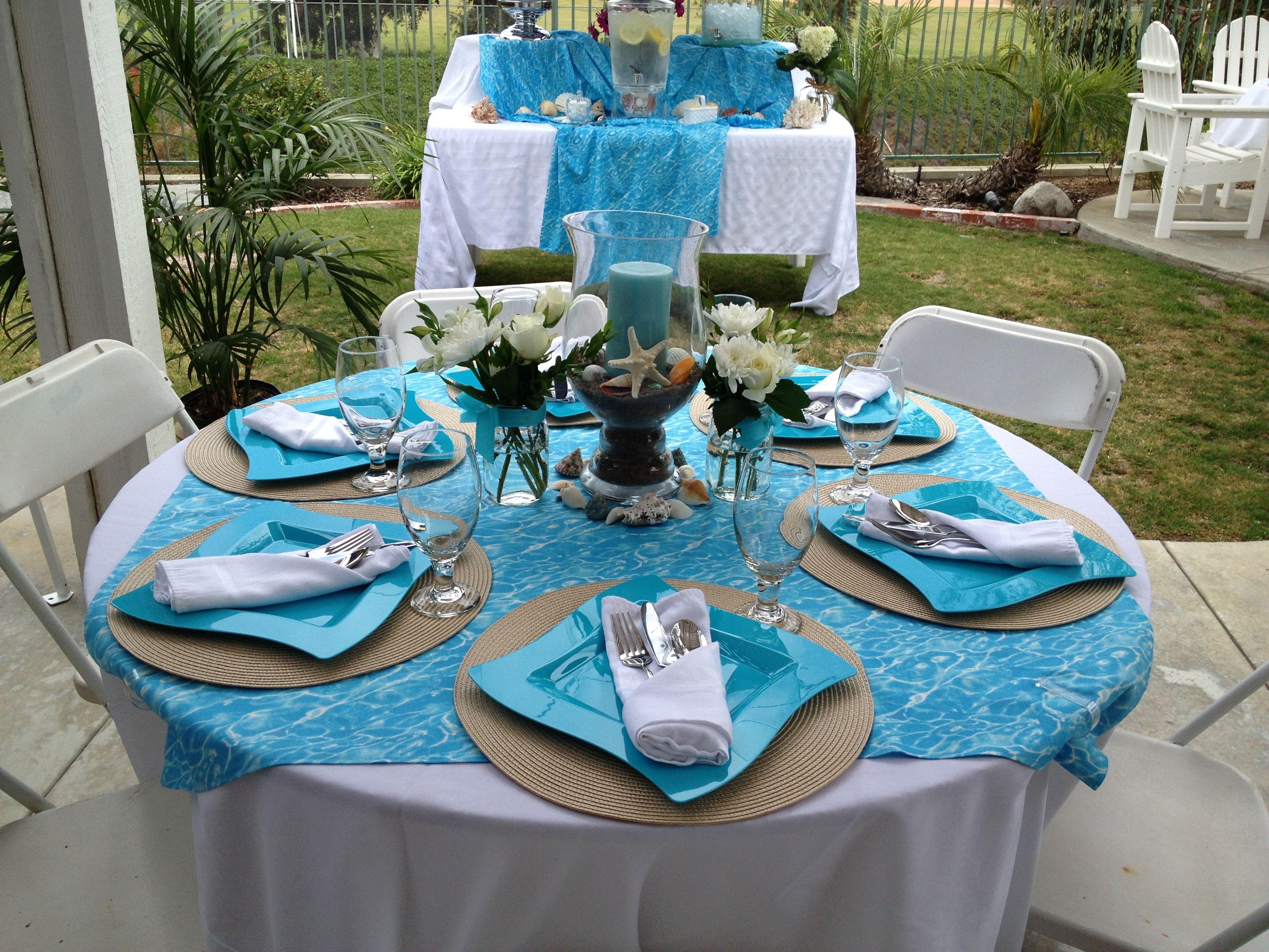 Beach theme bridal shower tables beach theme bridal
