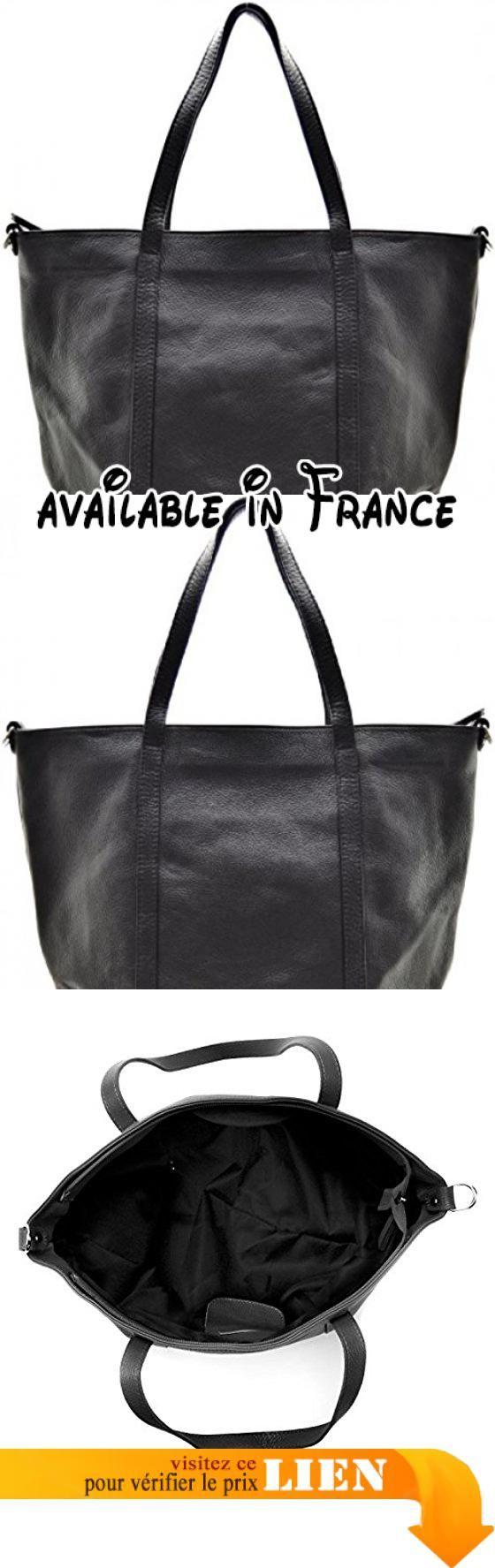 c11dc44e80 B076GR5391 : CUIR DESTOCK sac à main porté main et épaule cuir grainé  modèle angie noir