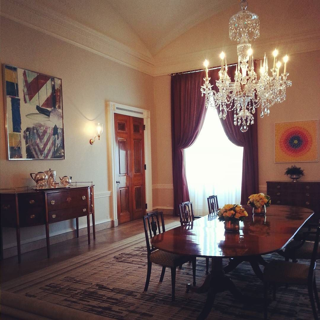 I love the juxtaposition of antique furniture and modern art in this room  in the White House! So glad we got to take a tour before we leave D.C.! - I Love The Juxtaposition Of Antique Furniture And Modern Art In