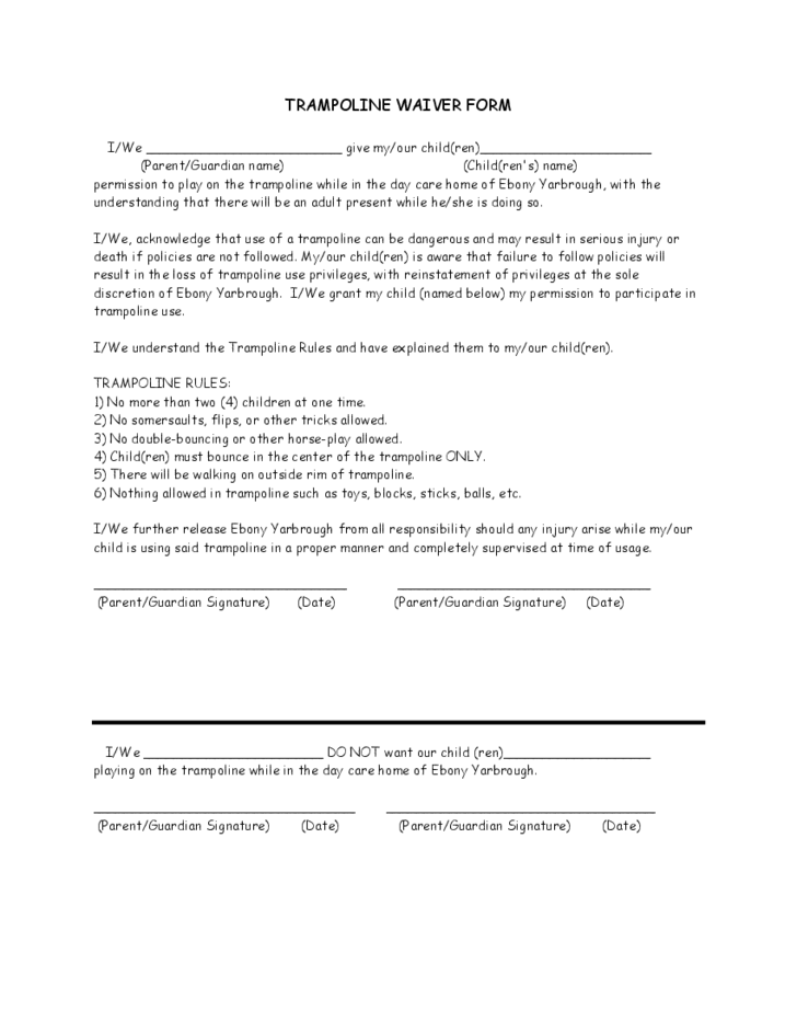 Trampoline Waiver Sample Form  Helpful Stuff For Kids