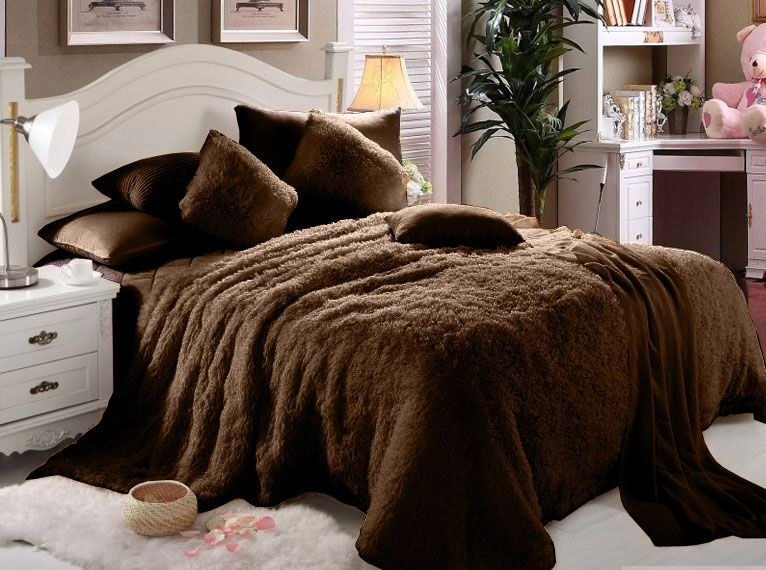 Luxe Soft Faux Fur Brown Double King Set Of 6 Piece Solid Bedding Set King Size Comforters King Size Blanket Blanket Set