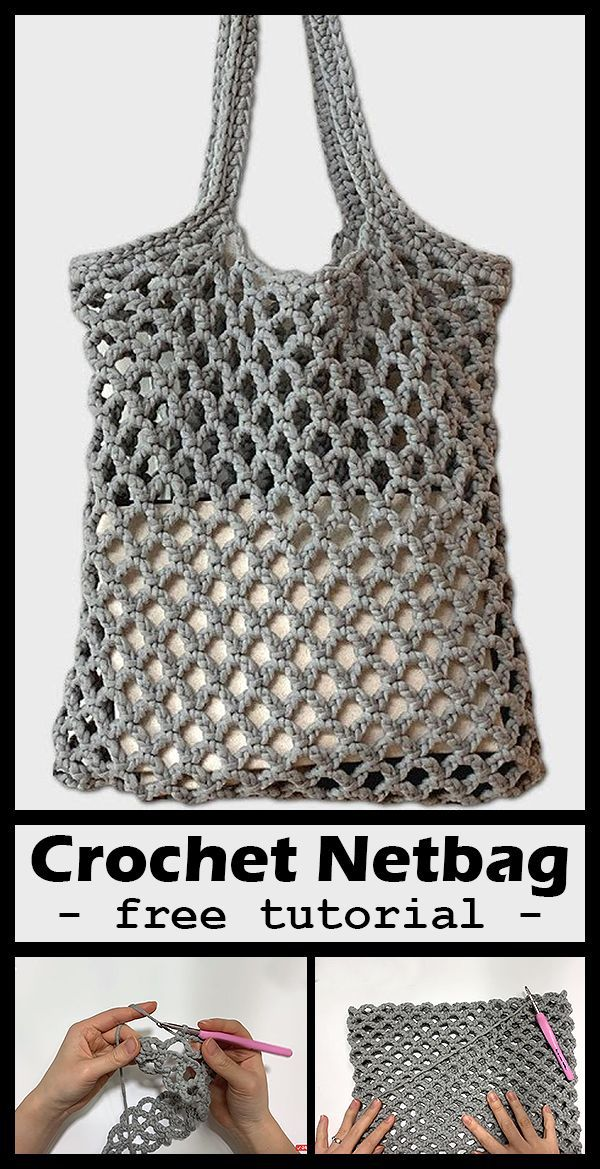 Free crochet netbag market bag tutorial and pattern #håndarbejde