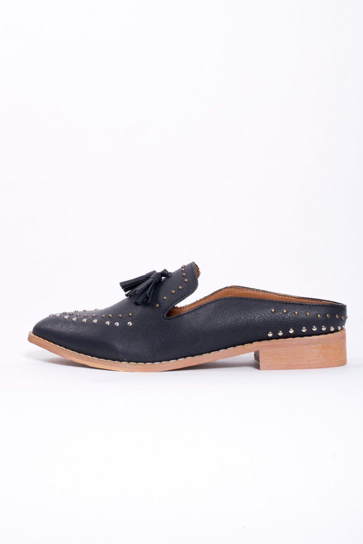 95d0fe60cc6 Montana Studded Tassel Loafer Mule - shoes - Mi iM - MOD SOUL