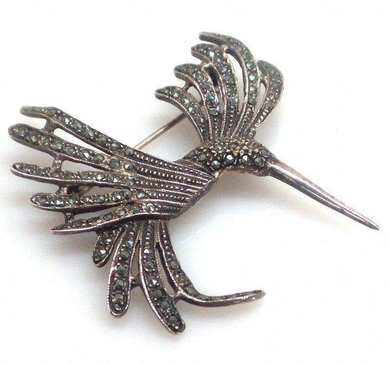 Vintage Marcasite and Sterling Hummingbird Brooch